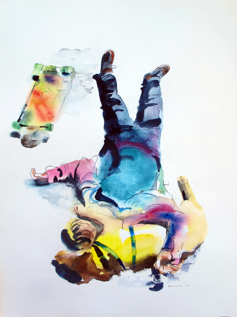 Boy, Dog, Skateboard on University Ave, Seattle, watercolor on paper, 20 by 15 in. Emilia Kallock 2015
