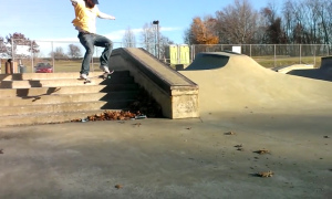 Photo of Gabe Werner doing a frontside 180 over a 6-stair at Boyce Park.  Taken by Matt Hankinson